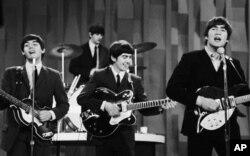 "The Beatles perform on the CBS ""Ed Sullivan Show"" in New York on Feb. 9, 1964."