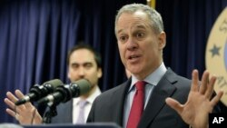 "FILE - New York state Attorney General Eric Schneiderman, pictured March 21, 2016, says that ""millions of New Yorkers are breathing unhealthy air as smog pollution continues to pour in from other states."""