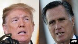 El senador entrante por Utah, Mitt Romney, derecha, criticó el martes 1 de enero de 2019 en un artículo periodístico algunas de las políticas del presidente Donald Trump.