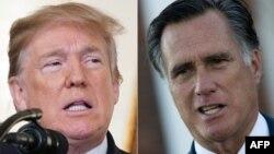 Presiden AS Donald Trump di Gedung Putih, Washington, DC, 15 Februari 2018 (kiri) dan Mitt Romney di Trump International Golf Club, 19 November 2016. (Foto: dok).