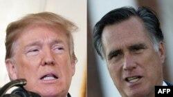 រូបឯកសារ៖ប្រធានាធិបតីអាមេរិកលោក Donald Trump និងលោក Mitt Romney អតីតបេក្ខជនប្រធានាធិបតីខាងគណបក្សសាធារណរដ្ឋ។