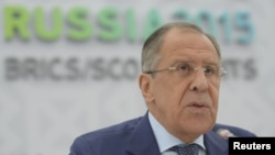 Russian Foreign Minister Sergei Lavrov speaks during a news briefing in Ufa, Russia, July 9, 2015.
