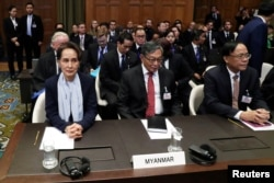 緬甸領導人昂山素姬在海牙國際法庭為緬甸被指控種族滅絕羅興亞人舉行的聽證會上。(2019年12月11日)