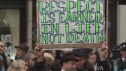 Protesters Join Funeral of Former British Prime Minister