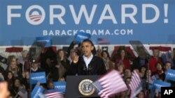 오하이오 선거유세에서 연설하는 민주당의 바락 오바마 미 대통령