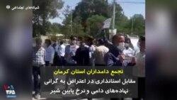 تجمع دامداران استان کرمان مقابل استانداری در اعتراض به گرانی نهادههای دامی و نرخ پایین شیر
