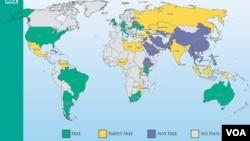 Карта из доклада правозащитной организации Freedom House «Глобальная оценка Интернета и цифровых медиа»