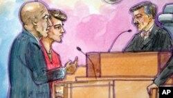 El diseño muestra a Ross William Ulbricht al centro durante la primera audiencia ante la Corte.