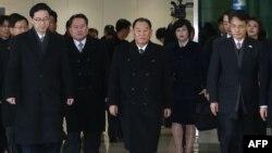 Phái đoàn cấp cao Triều Tiên tham dự lễ bế mạc Olympic Pyeongchang hôm 25/2/2018 do ông Kim Yong Chol dẫn đầu.