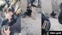 This series of stills from a mobile phone video shows the moments before the alleged execution of a handcuffed Sunni boy in Iraq. Posts on social media and reports in Arab media claimed the 11-year-old was shot by Shiite militiamen and/or Iraqi forces, however those claims have not been independently verified.
