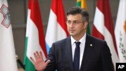 Arhiva - Premijer Hrvatske Andrija Plenković stiže na samit EU u Briselu, 22. juna 2017.