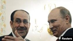 Umushikiranganji wa mbere wa Iraki, Nuri al-Maliki ari kumwe na prezida w'Uburusiay, Vladimir Putin