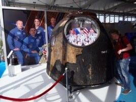 曾同国际太空站对接的俄罗斯联盟号飞船(美国之音白桦拍摄)
