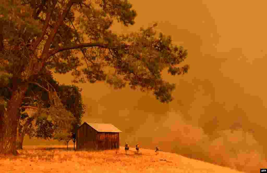 Vatrogasci penju se uz brdo u okolini mesta Guinda u Kaliforniji. Vatrogasna služba izdala je upozorenje i obaveznu evakuaciju požarom zahvaćenog područja posle daljeg rasplamsavanja požara i izuzetno visokih temperatura u tom delu Kailfornije. 1. juli, 2018.
