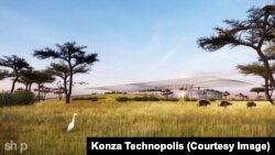 An artist's rendering shows a concept for the Pavilion area of the Konza Technopolis.