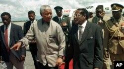 Ông Mandela (trái) làm tổng thống Nam Phi một nhiệm kỳ rồi về hưu còn nhà lãnh đạo Zimbabwe vẫn tại vị hơn 33 năm.