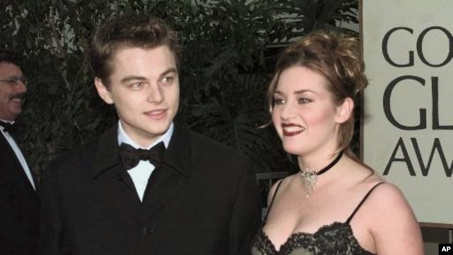 Leonardo DiCaprio and Kate Winslet arrive at the 1998 Golden Globe Awards in Beverly Hills, California