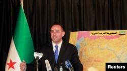 Suriye Ulusal Koalisyonu sözcüsü Halid Salih İstanbul'da açıklama yaparken