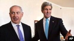 Menlu AS John Kerry bertemu dengan PM Israel Netanyahu dalam kunjungan Kerry yang ke-5 di Timur Tengah, dalam upaya perundingan damai Israel-Palestina.