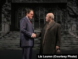 Rob Riley (Ronald Reagan) and William Dick (Mikhail Gorbachev) in Blind Date by Rogelio Martinez, directed by Robert Falls at Goodman Theatre
