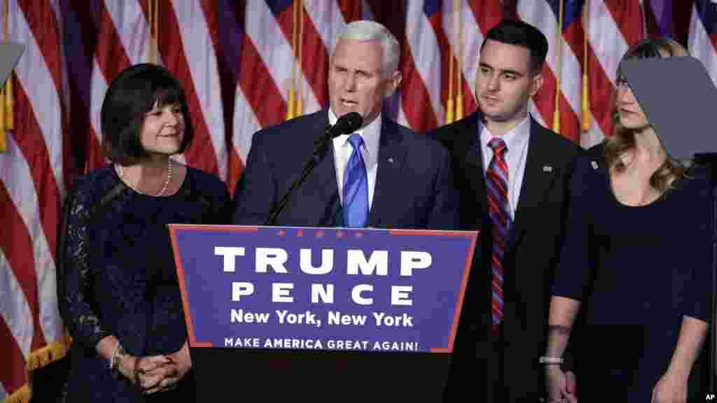Le vice-président élu Mike Pence s'exprime lors de la victoire de Donald Trump à New York, le 9 novembre 2016,.
