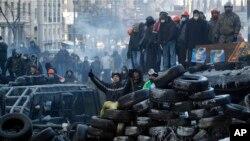 Demonstranti čuvaju barikade suočeni sa specijalcima u Kijevu, 24. januara 2014.