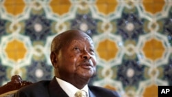 FILE - Ugandan President Yoweri Museveni speaks to reporters. East African leaders are likely to get a report from President Museveni on how his mediation efforts regarding Burundi have been going.