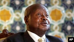 FILE - Ugandan President Yoweri Museveni speaks to reporters at the Akasaka Palace state guesthouse in Tokyo, Sept. 12, 2015.