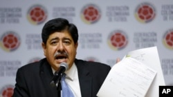 Luis Bedoya, a former FIFA executive committee member from Colombia - seen in this 2015 file photo - and Sergio Jadue of Chile were found guilty of wrongdoing including bribery and conflicts of interest, May 6, 2016.