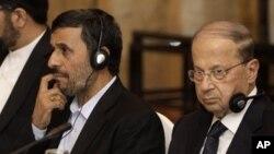 میشل عون در کنار محمود احمدینژاد، رئیس جمهوری سابق ایران