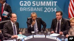 President of France Francois Hollande, U.S. President Barack Obama, Britain's Prime Minister David Cameron and Germany's Chancellor Angela Merkel attend the Transatlantic Trade and Investment Partnership (TTIP) meeting at the G20 the G-20 leaders summit