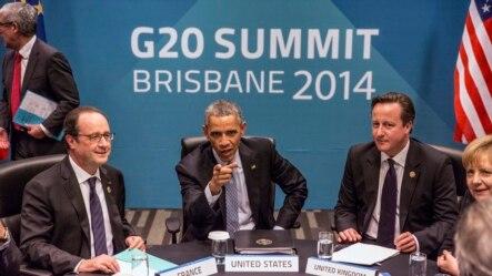 Tổng thống Pháp Francois Hollande, Tổng thống Mỹ Barack Obama, Thủ tướng Anh David Cameron và Thủ tướng Đức Angela Merkel tham dự cuộc đàm phán về hiệp định thương mại và đầu tư xuyên Đại Tây Dương (TTIP) tại Brisbane, Australia, ngày 16/11/2014.