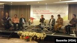 Diskusi kebijakan toleran dan anti diskriminatif yang digelar Setara Institute di Jakarta, Selasa, 13 Agustus 2019. (Foto: VOA/Sasmito)