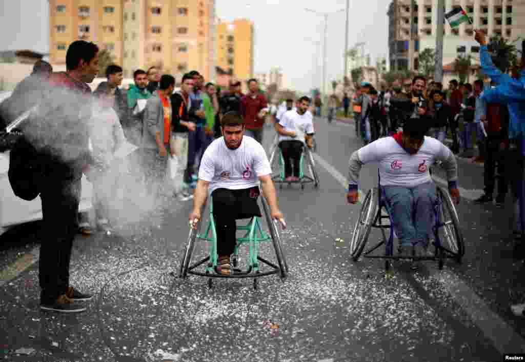 مسابقه محلی معلولان در غزه.