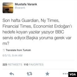"""Cumhurbaşkanı'nın danışmanlarından Mustafa Varank gibi isimler ise, Twitter mesajlarıyla yabancı medya kuruluşlarını adeta """"kirli ittifak"""" ile birlikte hareket etmekle suçlaması dikkat çekti."""