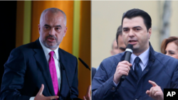 Prime Minister Edi Rama and opposition leader Lulzim Basha are shown in file photos.