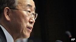 联合国秘书长潘基文今天在日内瓦联合国欧洲总部对媒体发言