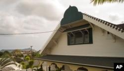 Diamond Head is seen behind the Muslim Association of Hawaii building in Manoa Valley, March 9, 2107, in Honolulu.