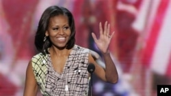 3일 미 민주당 전당대회 개막을 앞두고 대회장을 찾은 미셸 오바마 여사.