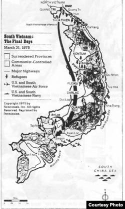 Bản đồ diễn biến chiến sự ở Việt Nam Cộng hòa tính đến thời điểm 31/3/1975 (ảnh tư liệu)