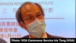 香港民意研究所行政總裁鍾庭耀表示,國安法之下仍會繼續以往的調查工作,直至法律框架改變 (攝影:美國之音湯惠芸)