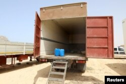 A lorry container where eight migrants including six children were found dead is seen, on the west Libyan coast, in Zuwara city, Libya, July 16, 2018.