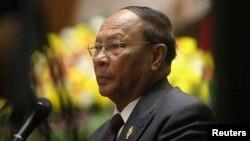 Chủ tịch Quốc hội Campuchea Heng Samrin phát biểu tại một buổi lễ kỷ niệm 35 năm chiến thắng chế độ diệt chủng Khmer Đỏ, ở Hà Nội, 5/1/2014.