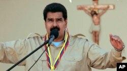 베네수엘라 니콜라스 마두로 대통령이 30일 베네수엘라 코로에 위치한 군부대에서 연설하고 있다.