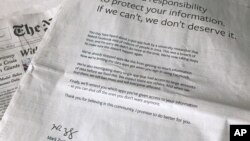 A Facebook advertisement appeared in The New York Times and multiple U.S. and British newspapers, March 25, 2018, in New York, following CEO Mark Zuckerberg's apology for the Cambridge Analytica scandal