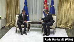Miroslav Lajčak, specijalni izaslanik Evropske unije za dijalog Beograda i Prištine, i predsednik Srbije Aleksandar Vučić u Beogradu