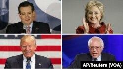 ແຖວເທິງຈາກຊ້າຍ ສະມາຊິກສະພາສູງ ຈາກລັດເທັກສັສ ທ່ານ Ted Cruz, ອະດີດລັດຖະມົນຕີຕ່າງປະເທດ ທ່ານນາງ Hillary Clinton, ແຖວລຸ່ມ ຈາກຊ້າຍ ສະມາຊິກສະພາສູງ ຈາກລັດ ເວີມັນ ທ່ານ Bernie Sanders ແລະນັກທຸລະກິດ ທ່ານ Donald Trump ທັງໝົດນີ້ ໄດ້ຮັບໄຊຊະນະ ການເລືອກຕັ້ງ ຂັ້ນຕົ້ນ ປະທານາທິບໍດີ ໃນວັນເສົາຜ່ານມາ, ວັນທີ 5 ມີນາ 2016.