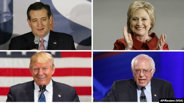 Clockwise, from top left, Texas Senator Ted Cruz, former Secretary of State Hillary Clinton, Vermont Senator Bernie Sanders and businessman Donald Trump all won contests in Saturday's presidential nominating contest, March 5, 2016.