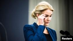 Thủ tướng Đan Mạch Helle Thorning-Schmidt nói chuyện tại cuộc họp báo ở Copenhagen về vụ nổ súng, 15/2/15
