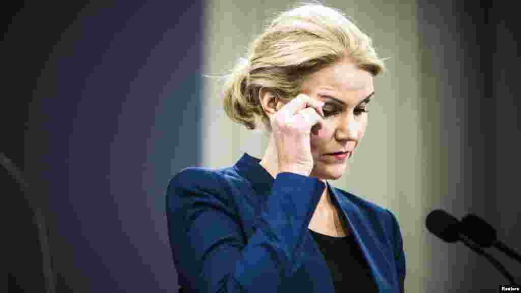 Denmark's Prime Minister Helle Thorning-Schmidt reacts during a news conference on the shootings Saturday in Copenhagen, Feb. 15, 2015.